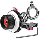 Neewer A-B Stop Follow Focus avec Ceinture de Couronne Dentée pour Canon Nikon Sony Caméra DSLR Caméscope Vidéo DV et Plus, s'Adapte au Système de Tournage de Tige 15 mm, Support d'Epaule, Stabilisateur, Rig de Film (Rouge et Noir)