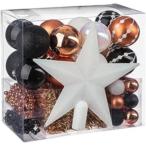 Kit decoración Navidad - 44 piezas para decorar el árbol; Guirnaldas, Bolas y Estrella - Tema color : Blanco, Negro y Cobre