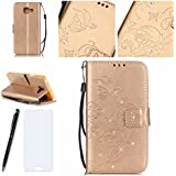 Lotuslnn Samsung Galaxy A3 2016 Coque, Kristall Strass Pave Flip Wallet Cuir Etui Samsung Galaxy A3 2016 Case Housse -( Coque+ Stylus Stift+Screen Protector)-Ppillon,Or