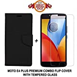 #1: Like It Grab It Luxury Mercury Diary Wallet Style Black Flip Cover Case for Motorola Moto E4 Plus Flip Cover - Moto E4 Plus Flip Cover + 2.5D curved 3D Edge to Edge Tempered Glass Mobile Screen Protector (Black-Transparent)