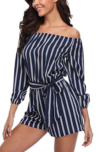 Miss Moly Damen Sexy Sommer Beiläufig Strand Streifen Romper Jumper Spielanzug Marine Blau - XL (Streifen Marine-blauer)
