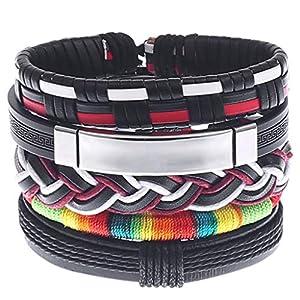 Einfache Vintage Männer handgewebte Armband, Legierung Lederarmband Gitarre Armband Set, 17-18 cm einstellbare mehrschichtige Seilkette, Geschenk für Sie und Ihre Freunde Familie