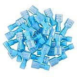 INCREWAY 200 Stück blau 16/14 Gauge Nylon weiblich voll isoliert Schnelltrenner Kabelspaten Drahtklemmen