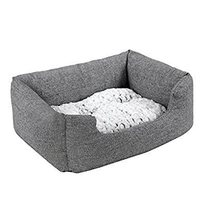 Songmics Rectangular Large Dog bed with removable mattress 80 x 60 x 26 cm PGW26G