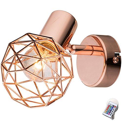 Design-wand-lampe (Design Wand Lampe Dimmer Fernbedienung Kupfer Kugel Flur Leuchte im Set inkl. LED RGB Leuchtmittel)