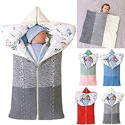 manta de cochecito de bebé, manta de bebé recién nacido saco de dormir cálido de invierno para bebés o niños de 0-12 meses (Gris)