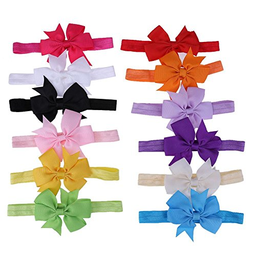 Warmingecom Head Bands for Baby Girl Kids Combo Bowknot Hairband for Babies Yellow Golden White Blue Pink Colour(12 Pcs)