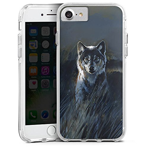 Apple iPhone 8 Bumper Hülle Bumper Case Glitzer Hülle Wolf Natur Dark Bumper Case transparent