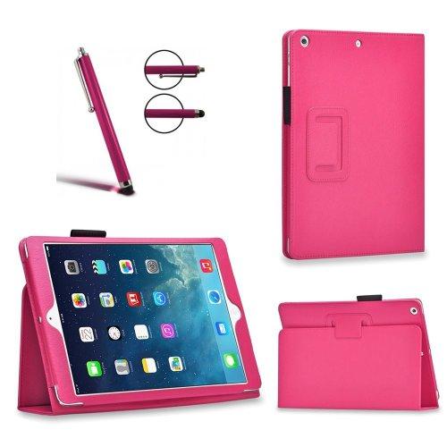 Invero® Executive Leder Schutzhülle Tasche Etui umfasst Ständer Feature, mit Auto Schlaf / Wach Funktion, Displayschutzfolie, Eingabestift Kugelschreiber und Mikro-Reinigungstuch für Apple iPad Pro 12,9 Zoll 2015 - Rosa / Pink Iphone Executive Leather Case