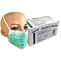 Tiga-Med Quality Disposable Surgical Masks, 3 layers with Straps 99.5 % Filter, Pack of 50, Green