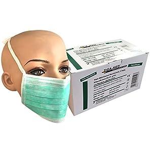 Einmal Mundschutz OP Masken 3-lagig grün 50 Stück mit Bändern zum Binden Einmal OP Masken Profi Gesichtsmasken 99,5% Filter Original Tiga-Med Qualität