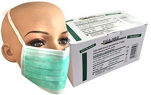 Einmal Mundschutz OP Masken 3-lagig grün 50 Stück mit Bändern zum Binden Einmal OP Masken Profi Gesichtsmasken 99,5{8eeb6e23d308c053d0b3472c61ae350527c0220e4ba7ba1e77c98435d658f828} Filter Original Tiga-Med Qualität