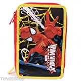 TrAdE shop Traesio® Trousse Spiderman Marvel Homme Araignée accessoriato école 3 zip rouge