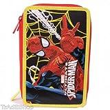 TrAdE shop Traesio® Trousse Spiderman Marvel Homme Araignée accessoriato école 3zip rouge