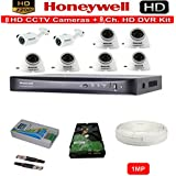 HONEYWELL FULL HD 1MP CAMERAS COMBO KIT 8CH HD DVR+ 2 BULLET CAMERAS + 6 DOME CAMERAS+1TB HARD DISC+ WIRE ROLL +SUPPLY & ALL REQUIRED CONNECTORS