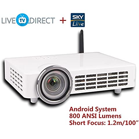 AODIN DLP-1000 Fisheye Short Focus Android 3D Smart Projector 1080p HD Home Theater Projector TV LED 800 ANSI Lumens and Bulid-in LiveTV Service