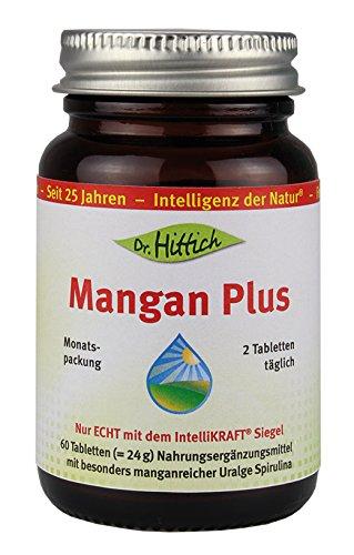 Mangan Plus - 60 Tabletten - Unterstützt Knochen, Energiestoffwechsel, Zellen und mehr. 320 mcg organisches Mangan und 400 mg Spirulina - Von Dr. Hittich