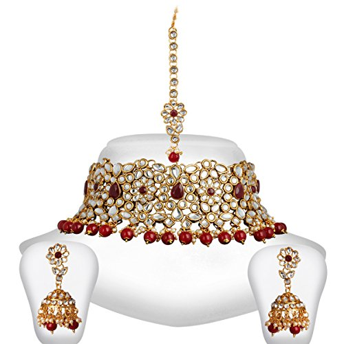 999022c447ba2 Spargz Gold Plated Red White Kundan Pearl Choker Indian Bollywood ...