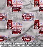 Soimoi Grau Baumwolle Ente Stoff London Thema