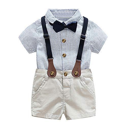 CARETOO Baby Jungen Bekleidungssets Kleidung Set Streifen Shirt + Hose Baby Fliege Anzug für Baby Geburtstagsparty Kleid - Baby-kleid-hose