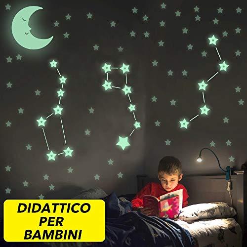 IMPARA - Stelle Adesive Fluorescenti Luminosissime  Ricrea Le Costellazioni  Kit 295 Pezzi - Grande LUNA in Regalo - Confezione Premium
