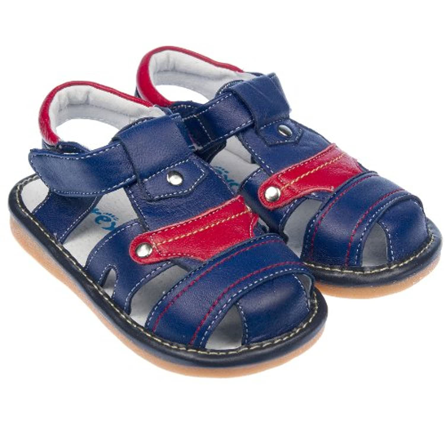 Freycoo - Boys Toddler Childrens Kids Real Leather Squeaky Shoes Sandals - Navy Blue & Red