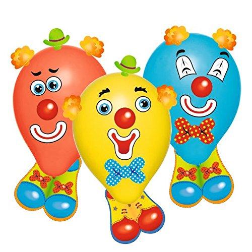 uftballons Funny Clowns, Latex + Pappe mit Stickern, farbig sortiert, 6 Stück im Polybeutel mit Header ()