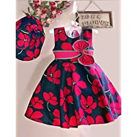 CBIN&HUA Girls Dress+ Hat Red Flower Print Bow Party Pageant Beach Princess Lovely Children Clothes , red-130 , red-130