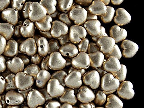 50stk 6mm Herz Tschechische Gepresste Glasperlen, Bronze Pale Gold (Aztec Gold)