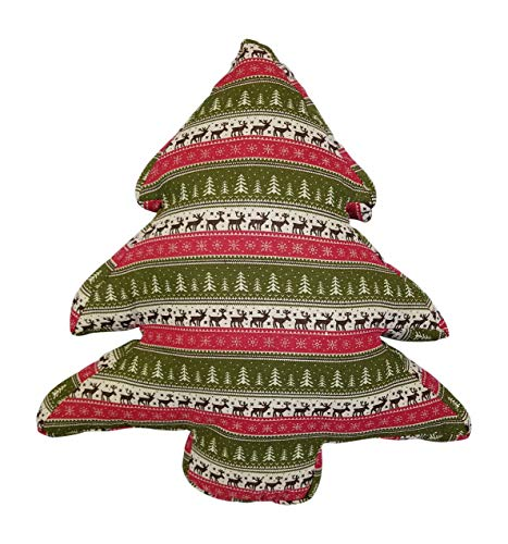 3Cats Plüsch Weihnachtsbaum gefüllt Überwurfkissen Winterdeko mit Bäumen, Rentiere, Schneeflocken Print