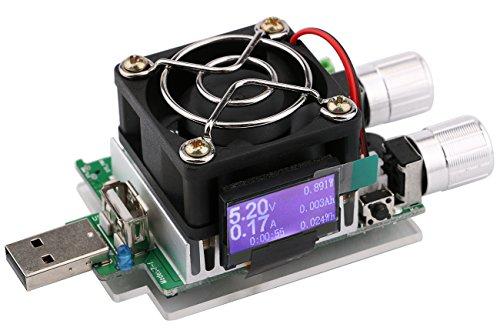 Yeeco 35W USB-Batterie laden Tester Board DC 3-21V 3A Einstellbare Konstantstrom Strom-Entlade-Widerstand für Spannung Strom-Monitor, Mobiles Ladegerät Tester, Entladezeit Aging (21v Usb)