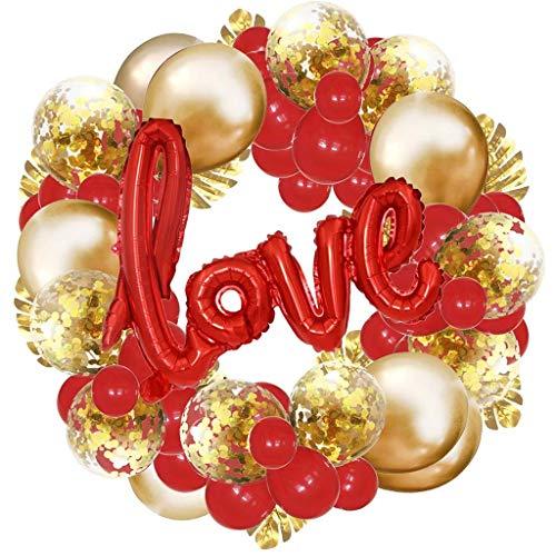 Maleya Valentine Weddings Red Foil Herz Feier Hochzeits Dekor Liebes Ballone Valentinstags Dekorationsset Party Requisiten Dekoration Liebesballon Herz Konfetti Luftballons