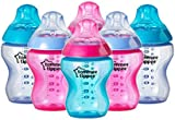Tommee Tippee Closer to Nature Colour My World Feeding Bottles Girl Decorated Different Colour 260ml x 6