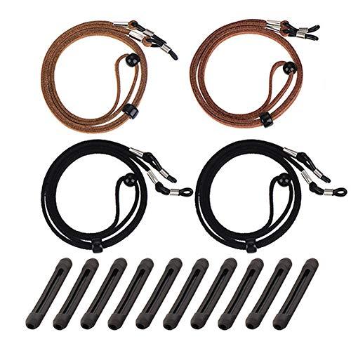 4 Stück Brillenband Seil Verstellbar PU Leder Brillen Kordel Halter Rutschfester Schutz für Bracket Brillen (2Black2Brown)