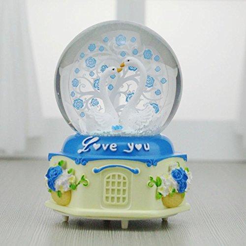 YOIL Exquisites und anmutiges Geschenk Swan Crystal Ball Spieluhr Schneeflocke Spieluhr für Hochzeit Dekoration-Blau, groß