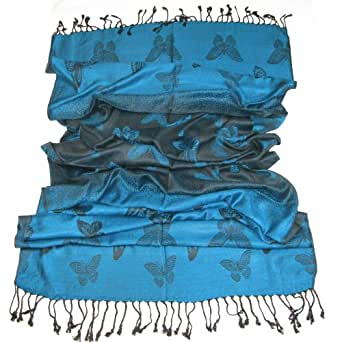 Women's Blue Pashmina Scarf Butterfly - Lovarzi Ladies Fashion Long Scarfs - Beautiful Scarves