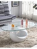 Runde Glas Couchtisch Weiß Hochglanz Modern Design Ring Form Wohnzimmer Möbel