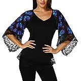 UFACE Lady Butterfly Spitzenoberteil Womens Schmetterlings RaglanäRmel T Shirt Mit Spitzenbesatz Top Bluse (XL, Schwarz)