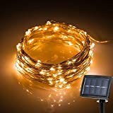 IVSO Solar Outdoor String Fairy Lights, Christmas Light, 72ft 200 LEDs, IP65 Waterproof Solar String Fairy Copper Wire Lights for Gardens, Patio, Yard, Homes, Christmas and all other festivals
