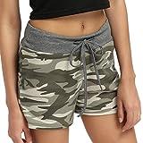 Bellelove Europa und die Vereinigten Staaten camouflage Frauen Shorts axiale Taille Mode dünne breite Bein Baumwollmischung Material (L, Grün)