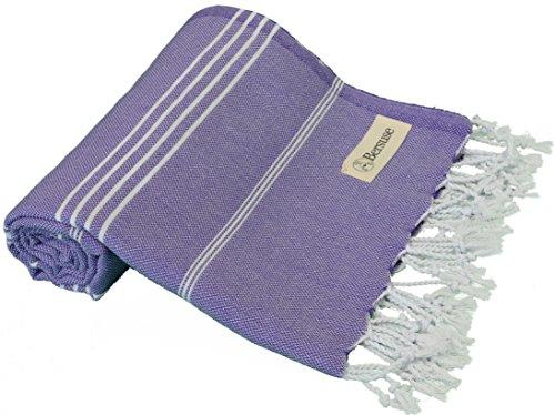 Bersuse 100% cotone - asciugamano turco anatolia - peshtemal fouta per bagno e spiaggia - pestemal classico striato - 95 x 175 cm, viola scuro