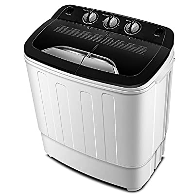 Portable Washing Machine TG23 – Twin Tub Washer Machine with Wash and Spin Cycle Compartments by ThinkGizmos (Trademark Protected)