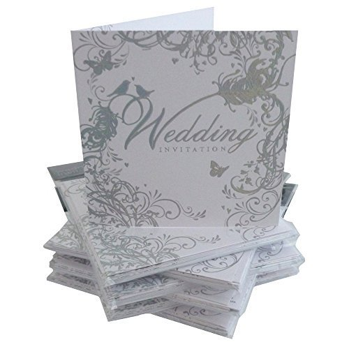 Pack-Of-36-Simon-Elvin-Wedding-Day-Invitations-Silver-Scroll-Design-DP214NP