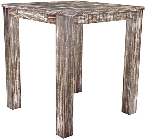 Brasil Meubles Haut 'Rio Classico' Table 120 x 120 cm, Pin Massif, Teinte Look Antique