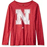 NCAA Nebraska Cornhuskers Womens Her Full Color Primary Logo L/s Crew Teeher Full Color Primary Logo L/s Crew Tee, Power Red, Medium