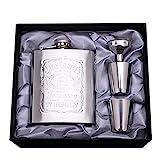 ReLX Fiaschetta acciaio, Fiaschetta in acciaio inox Fiaschetta per whisky, escursione, viaggio 7oz/200ml argento