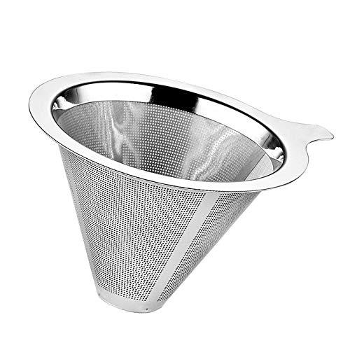 Pour Over Filtro de café - Filtro de café de goteo reutilizable para Chemex, Hario V60 y otros filtros para cafeteras, acero inoxidable 304.