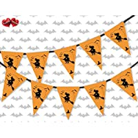 Black witch and bats Halloween Themed Bunting Banner 15 flags for guaranteed simply stylish party decoration by PARTY DECOR