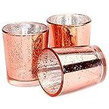 Set mit 12 gesprenkelten Teelichthaltern | Stilvolle Kerzenhalter aus Glas | Tisch & Heimtextilien | Moderne Wohnaccessoires | M&W (Roségold) - 2