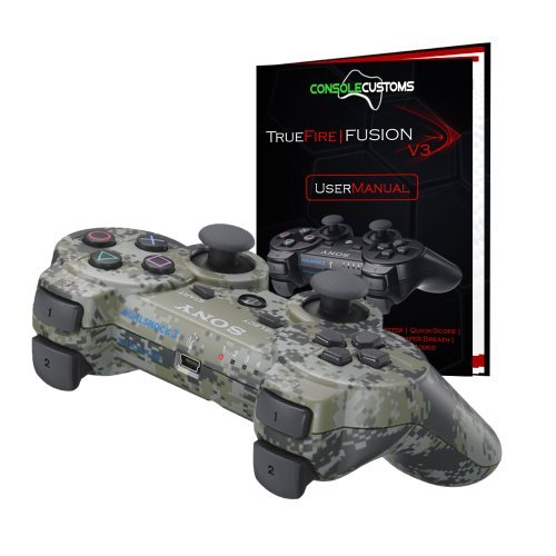 PS3 Urban Camo TrueFire-Fusion Rapid Fire modded Controller with DROP SHOT, QUICKSCOPE, JITTER, AUTO AIM; COD MW3, Black Ops by Console Customs (Modded Ps3 Controller Auto Aim)